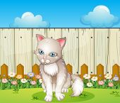 Illustration of a sad cat near the wooden fence
