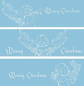 Rich ornate Christmas banner background with singing angels.