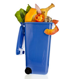 picture of dumpster  - Blue Dumpster filled household waste kitchen scraps  isolated on white background - JPG