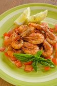 stock photo of crustacean  - dish of cooked crustaceans dressed with tomato sauce - JPG