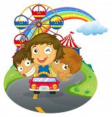 Illustration of a vehicle with happy kids near the amusement park on a white background