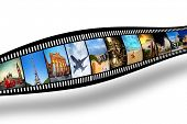 Film strip with colorful, vibrant photographs on white background. Travel theme. All pictures used a