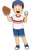 Illustration of a Boy Wearing a Baseball Mitt on One Hand and Holding a Baseball in the Other