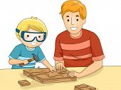 Illustration of a Father and Son Bonding Over a Woodworking Project