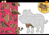 Cartoon Warthog Puzzle Game