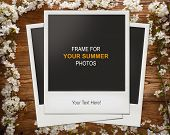 Blank photo frame with summer flowers on wood background