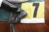 Jockey Boot Detail And Race Horse
