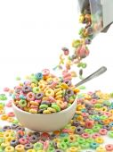 pic of cereal bowl  - Pouring breakfast cereal on pure white background - JPG