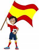 Happy soccer fan holds Spanish flag