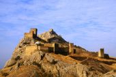 Medieval fortress on mountain in Crimea poster