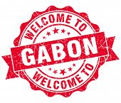 Welcome To Gabon Red Grungy Vintage Isolated Seal