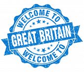 Welcome To Great Britain Blue Grungy Vintage Isolated Seal
