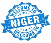 Welcome To Niger Blue Grungy Vintage Isolated Seal
