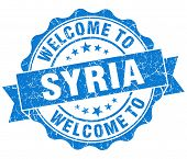Welcome To Syria Blue Grungy Vintage Isolated Seal