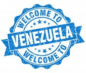 Welcome To Venezuela Blue Grungy Vintage Isolated Seal