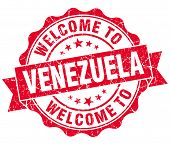 Welcome To Venezuela Red Grungy Vintage Isolated Seal