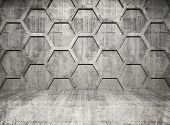 Abstract Concrete Interior With Honeycomb Structure On Gray Wall