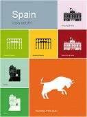Landmarks of Spain. Set of flat color icons in Metro style. Raster image.