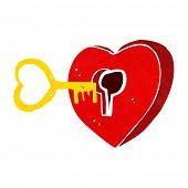cartoon heart with key