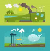 Ecology Concept Vector Illustration for Environment, Green Energy and Nature Pollution Designs. Flat