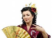 Kimono Caucasian Woman Doing Cool Hand Gesture