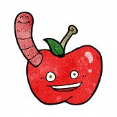 cartoon apple with worm