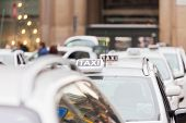 taxi stand in Milan Italy