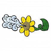 cartoon flower squirting water