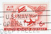 Usa - Circa 1956: A Stamp Printed By Usa Shows The150th Anniversary Of Powered Flight With A Us Navy
