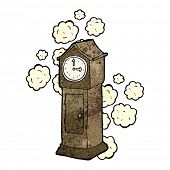 cartoon dusty old grandfather clock