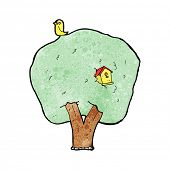 cartoon tree with birdhouse