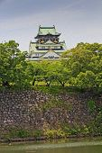 The Main Keep Of Osaka Castle In Osaka, Japan, Oil Paint Stylization