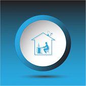Home work. Plastic button. Vector illustration.
