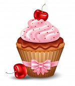 Cherry cupcake with cream and chocolate. Vector illustration.