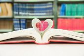 Heart Shaped Book Pages With Library Background