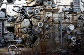 stock photo of time machine  - Detail of rusted machine in abandoned factory - JPG