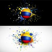 Colombia Flag With Soccer Ball Dash On Colorful Background, Vector Illustration
