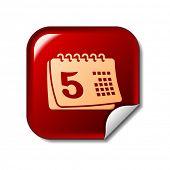Calendar icon on red sticker