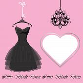 Little Black Dress With Label And Chandelier