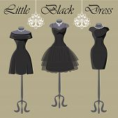 Set Of  Three Little Black Dresses.monochrome Composition