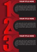 Vector red retro three step background with place for texs. Can be used for brochure, poster or flyer