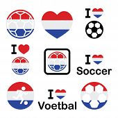 I love Dutch football, soccer icons set
