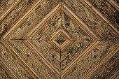 Golden Diamond Pattern wooden Door Detail Background