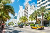 MIAMI,USA - MAY 20,2014 : Famous art deco hotels at Collins Avenue on a sunny day at Miami Beach