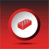 Hollow brick. Plastic button. Raster illustration.