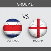 Group D Match Costa Rica v/s England countries flags for Soccer Competition in Brazil.