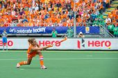 THE HAGUE, NETHERLANDS - JUNE14: Captain Maartje Paumen of the Dutch womens field hockey team scores