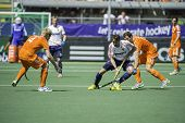 THE HAGUE, NETHERLANDS - JUNE 13: English player David Condon passes Dutch player Sander Baart durin