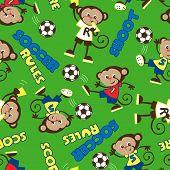 Soccer Rules Monkey Seamless Pattern