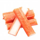 Japanese seafood crab sticks on white background